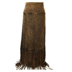 NWT T PARTY Brown Black Fringe Maxi Skirt Sz M